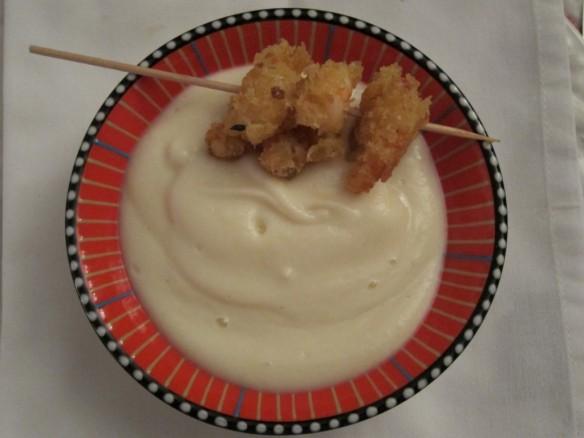 cauliflower cream with prawns