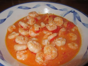 Black Tiger Shrimps with Tomato Cherries and Garlic