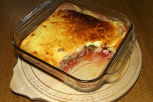 Rhubarb with Strawberries Gratin