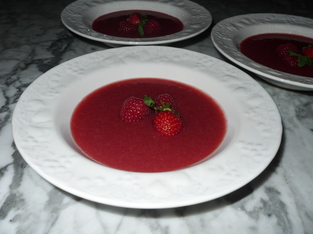 Raspberry & Strawberry Soup with fresh Mint & Basil