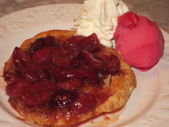 Cherry Compote and Caramel Tart