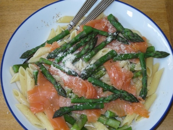 Penne Rigate with Asparagus & Smoked Salmon