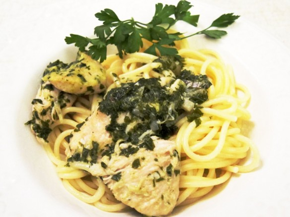 Pasta with Parsley Sauce & Chicken