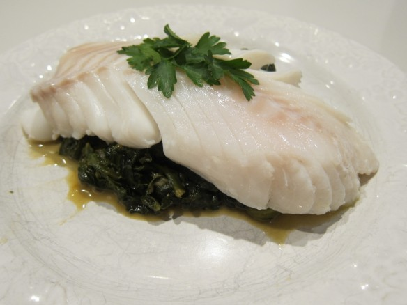 Steamed Cod with Spinach, Fennel and Orange