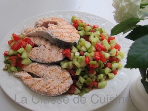 Saumon Rôti sur Salade façon Gazpacho