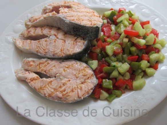 Seared Salmon with Gapacho Salad