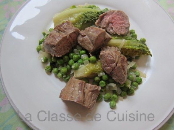 Lamb Neck with Peas and Braised Lettuce