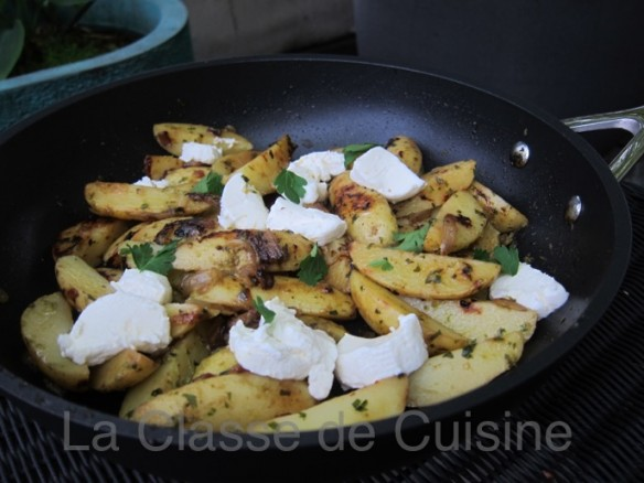 Jersey Potatoes with Salsa Verde & Goat's Cheese