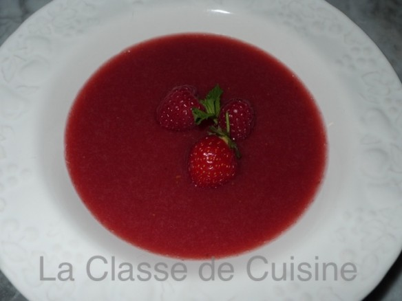Raspberry and Strawberry Soup with fresh Mint and Basil