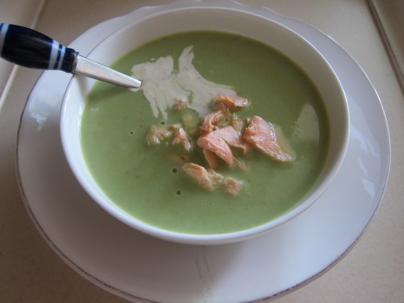 Lettuce Soup with Salmon Crumble
