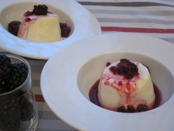 Honey Panna Cotta with Blackberry Compote