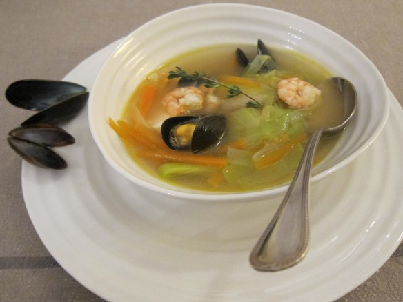 Seafood Broth with its Small Vegetables