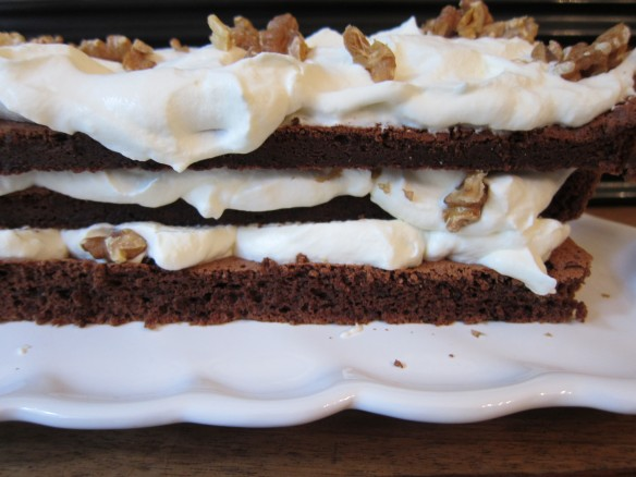 Flourless Chocolate Layer Cake with Walnuts