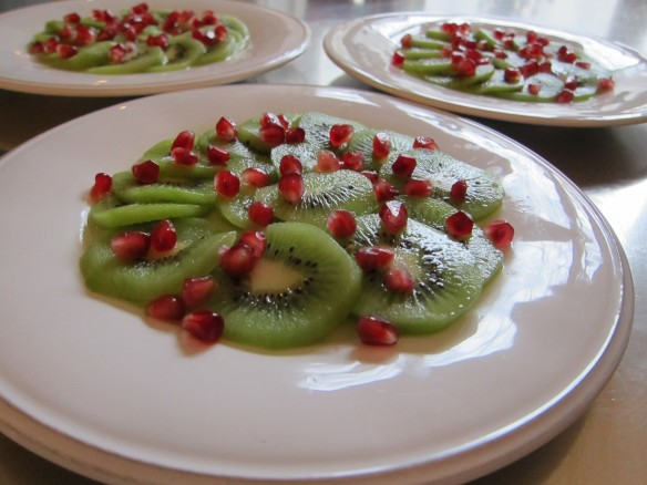 Kiwi Carpaccio with Pomegranate