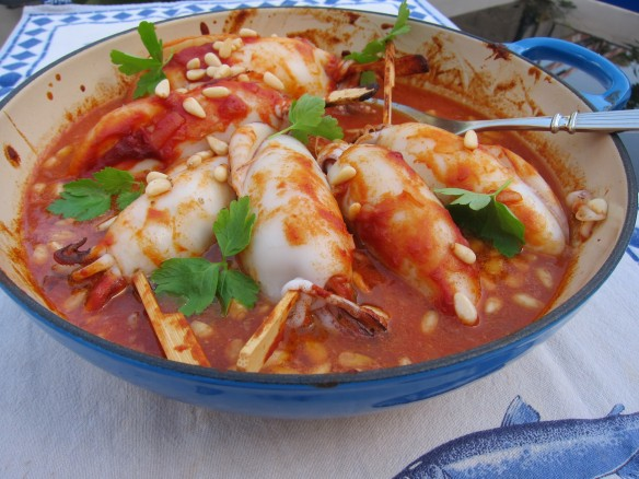 Stuffed Squid with Tomato Sauce and Pine Nuts