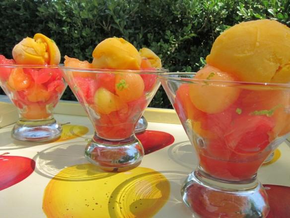 Salade Glacée de Melon, Pastèque et Mangue au Citron Vert