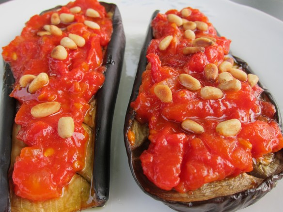 Grilled Aubergines, Tomatoes and Pine Nuts